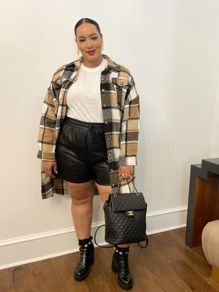 Lo i g these faux leather shorts from good American   #LTKSeasonal #LTKcurves