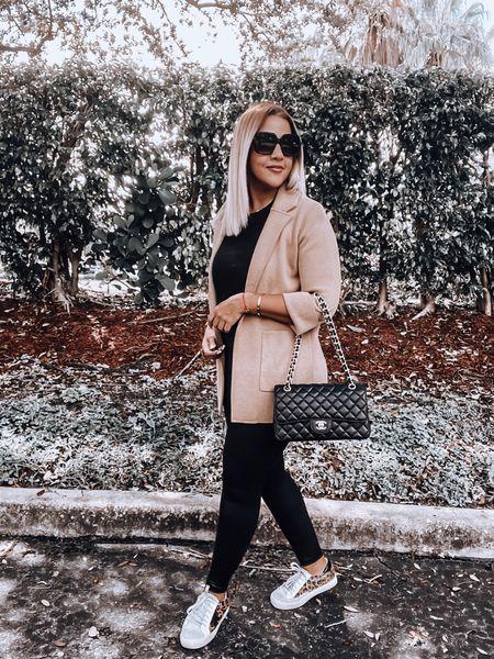 Sweater Blazer, Spanx faux leather leggings, golden goose sneakers, leopard print sneakers, black tee, Chanel bag   #LTKSeasonal #LTKitbag #LTKshoecrush