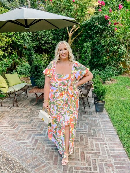 This dress is a STATEMENT, y'all! Y'all went gaga for it in Stories and requested to see it on and I asked my dad to snap this before I left for the bridal shower 😂 I got the 1X and I'd say it's a 10/10 perfect fit 🙌 This would also make an awesome wedding guest dress, too!   #LTKwedding #LTKcurves