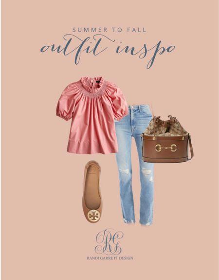 Fall outfit cute blush top with my favorite jeans!  #LTKSeasonal #LTKsalealert #LTKstyletip