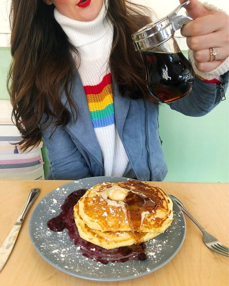 Rainbow sweaters & pancake dreams 🌈🥞 http://liketk.it/2AruY @liketoknow.it #liketkit Shop your screenshot of this pic with the LIKEtoKNOW.it app