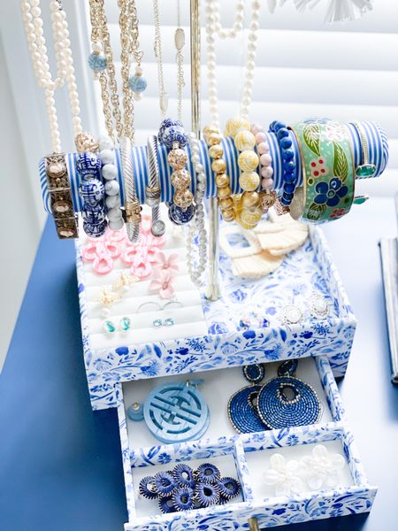 Jewelry favorites bracelet necklace Lisi lerch styled collection  blue and white chinoiserie grandmillennial preppy Asian Chinese style big earrings statement earrings   #LTKunder50 #LTKstyletip #LTKunder100