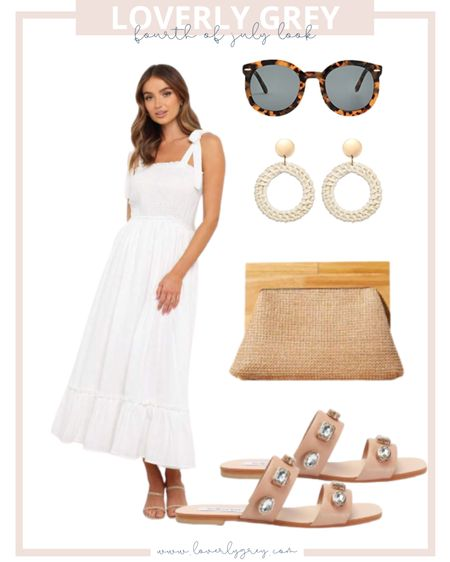 Loverly grey Fourth of July look 🇺🇸 wear a white dress and neutral accessories for a timeless look!   #LTKunder100 #LTKstyletip #LTKSeasonal