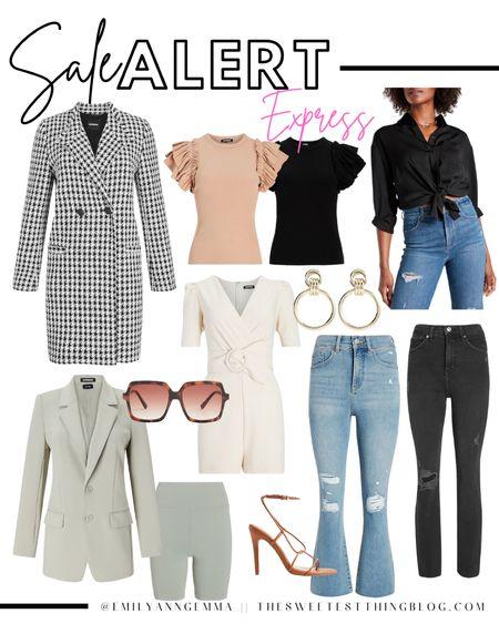 Fall Fashion, Express, Houndstooth Coat, Blazer, Fall Denim, Jeans, Sunglasses, Designer dupe, Ruffle sleeve top, sale alert, Express sale picks, Emily Ann Gemma http://liketk.it/3o37h  #LTKstyletip #LTKSale #LTKsalealert