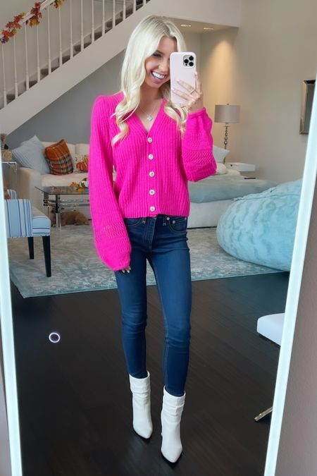 Loving this new cardigan for fall from Lilly Pulitzer! The vibrant pink knit fabric with the crystal buttons is to die for! #lillypulitzer #cardigan #pinkcardigan #sweater #fall  #LTKfit #LTKunder100 #LTKSeasonal