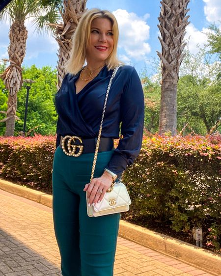 #workwear style I'm loving right now includes these #yogapants that look like work pant. Add these #accessories that make this outfit 👉 http://liketk.it/3gNi7 or Shop your screenshot of this pic with the LIKEtoKNOW.it shopping app @liketoknow.it #liketkit #LTKitbag #LTKcurves #LTKworkwear #workstyle #bodysuit #amazonfinds #ggbelt #guccibelt #amazonstyle #blackbodysuit