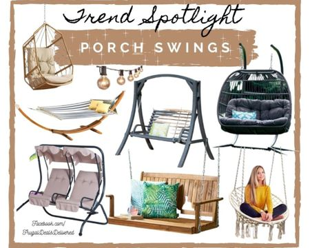Spring summer and fall swing chairs for your patio, porch, outdoor living space! Make the most out of your summer living life, perfect for a reading nook, relaxation place & date night and cuddle sessions with these patio furniture and home decor! This huge trend for 2021 is here and I want one ASAP to get the most use out of it with warmer weather coming! Overstock, way fair and Walmart/ amazon finds!     Screenshot this pic to get shoppable product details with the LIKEtoKNOW.it shopping app http://liketk.it/3a0vj @liketoknow.it #liketkit http://liketk.it/3a0vj #LTKSeasonal #LTKhome #LTKfamily @liketoknow.it.home