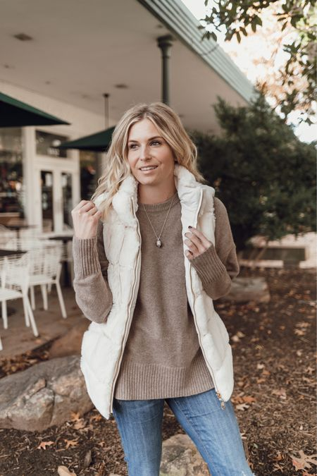 Tan sweater with a white faux fur vest for fall 🤍  #LTKstyletip #LTKunder100 #LTKSeasonal