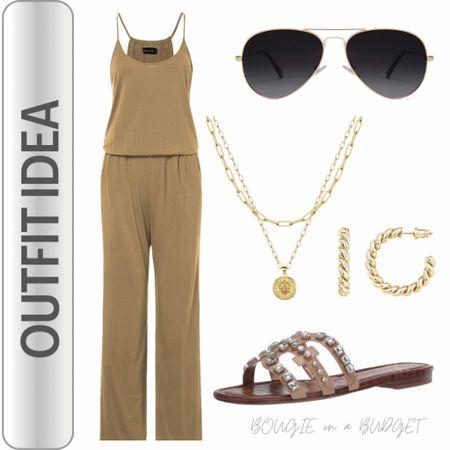 Nude tank jumpsuit, jeweled sandal, gold necklace, gold hoops, aviator sunglasses  http://liketk.it/3fmdp #liketkit @liketoknow.it   #LTKunder50 #LTKstyletip #LTKtravel