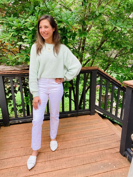Casual outfit // white denim // raw hem // cropped sweater // white mules  #LTKstyletip #LTKSeasonal #LTKunder100
