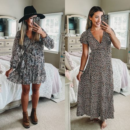 Loving these dresses for a summer to fall transition! Perfect church dress, wedding guest dress, or shower dress! 🤍🤍🤍 floral dresses are my fav!!  #LTKsalealert