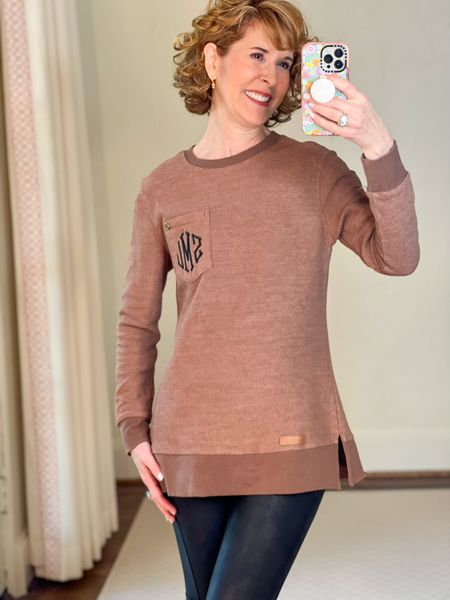 Fall top, tunic top, long top, tunic sweater, long sweater, huggie earrings. Initial earrings  This ribbed tunic sweatshirt is so comfortable! It's the perfect length for leggings.I paired it with faux leather leggings and initial pendant Huggies.  #LTKsalealert #LTKunder50 #LTKSeasonal