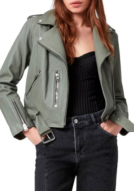 I'm a sucker for a good leather jacket and this sage green jacket is a must have from the Nordstrom anniversary sale! ⚡️ Trust me, she will sell out! Few sizes left. I'd size up a size for a looser fit to wear sweaters underneath. Here are my picks on how to style this jacket multiple ways. #nsale   #howtostyle #wiwt #motojacket #bikerjacket #leatherjacket #bodysuit #chainnecklace #jewelry #rippedjeans #blackjeans #booties #whitebooties #bootseason #mididress #musthave #fallfashion #fallstyle #falloutfits #summerstyle #edgyfashion #thestylizt     #LTKstyletip #LTKsalealert