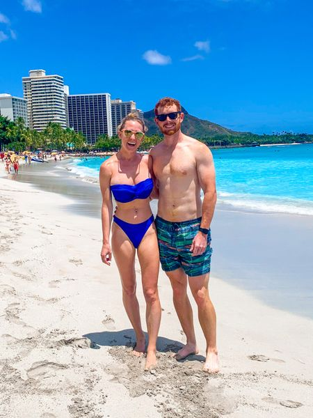 Cobalt blue bandeau swimsuit and high waisted bikini bottoms for Hawaii beach vacation honeymoon paired with pink sunglasses, white slide sandals and a blue maxi dress coverup.   #LTKunder50 #LTKswim #LTKtravel