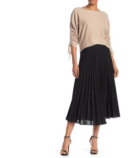 Pleated Midi Skirt Under $30  #LTKunder50 #LTKsalealert #LTKworkwear