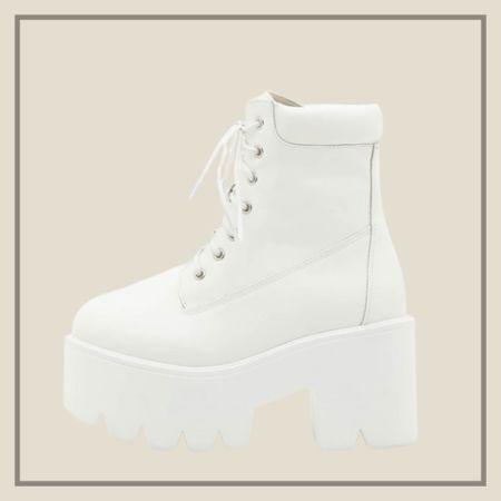 Chunky lace up front white platform combat boots   #LTKstyletip #LTKshoecrush #LTKunder50
