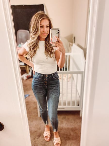 Pink Lily boutique | distressed high waisted skinny jeans | white body suit | target style sandals   #LTKshoecrush #LTKstyletip #LTKfit