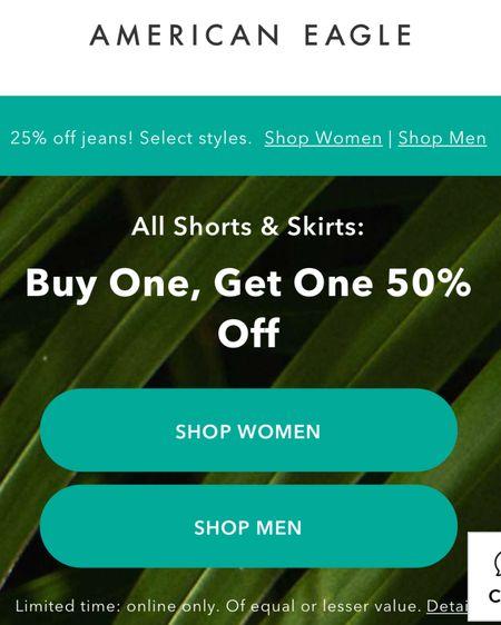 Buy one get one 50% off shorts and skirts http://liketk.it/3eYht #liketkit @liketoknow.it #LTKsalealert #LTKunder50 #ae #americaneagle #summer #denim #shorts