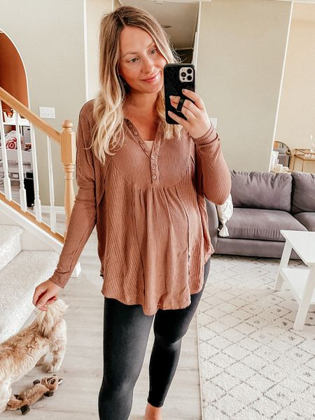 Nordstrom anniversary sale try on  Free people Henley - wearing a S, oversized fit also fits my bump and will be nursing friendly  Spanx maternity leggings  Spanx faux leather leggings fit snug - size up one size!! Leggings you'll live in all season long, easily dress them up or down  Favorite aerie bralette  Fall outfit  Closet staples   #LTKunder100 #LTKsalealert #LTKbump