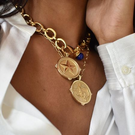 These Texas state coins are a perfect gift for the proud Texan. I love the mix of heavy and light chains; such a special piece! It comes in solid gold as well - all options tagged here.   #LTKGiftGuide #LTKHoliday #LTKworkwear