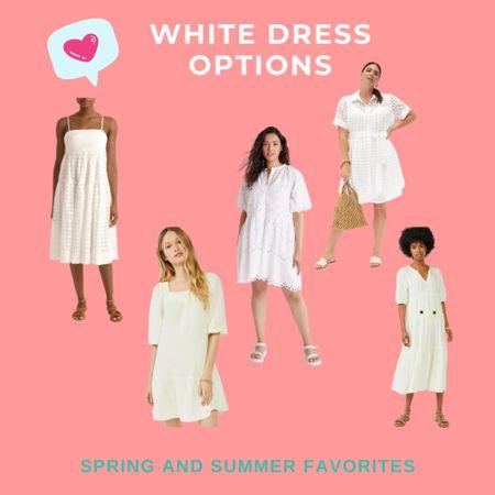 White dress options that are perfect for spring or summer!   #LTKcurves #LTKSeasonal #LTKsalealert