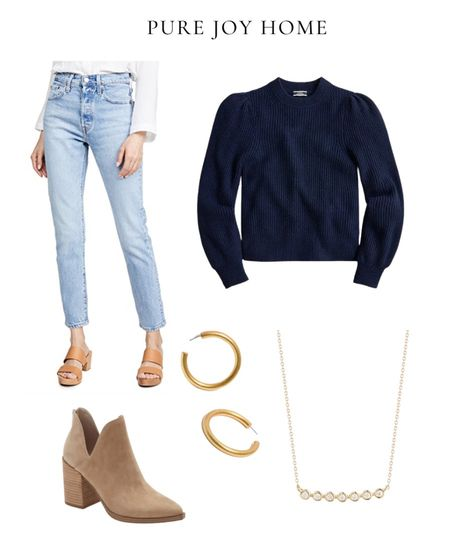 Weekend outfit, fall outfit, date night, girls night, j. Crew sweater wearing size xs, Levi's jeans, booties, gold jewelry
