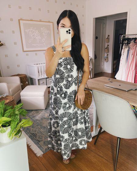 Summer dress, summer fashion, beach vacation outfit, summer outfit, beach dress: black and white dress, floral dress, white midi dress (XS), straw circle bag, brown slide sandals. @liketoknow.it http://liketk.it/3jmUT #liketkit #LTKunder100 #LTKstyletip