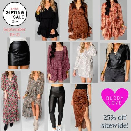 The LTK Early Gifting Sale ends tomorrow! All of your fall fashion favorites and bestsellers from Buddy Love are on sale for 25% off through September 21st, only in the LTK app!  . Fall dress wedding guest dress floral dress long sleeve dress midi dress faux leather leggings faux leather skirt leopard skirt midi shirt sequin dresses sequin skirt workwear   #LTKunder100 #LTKSale #LTKsalealert