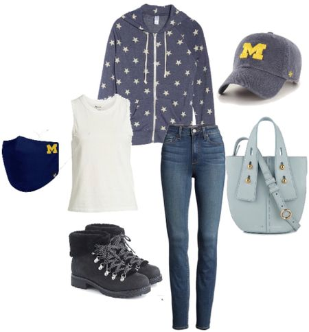 """Stay close to home all weekend in this cute, college football themed outfit for fall! I love these """"lumberjack"""" boots for fall and winter! The hoodie is perfect for chilly nights. You can get a mask and hat with your fave college football team logo! Go Blue!   #LTKsalealert #LTKFall #StayHomeWithLTK"""