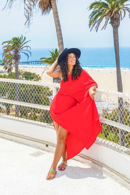 Red maxi dress summer dresses beach outfits style   #LTKsalealert #LTKtravel #LTKunder100