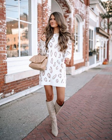 The Lizzie Animal Print Sweater Dress in Ivory  XS, TTS, cmcoving, Caitlin Covington, Pink Lily Collection, fall fashion, use code CAITLIN20 for 20% off!   #LTKunder100 #LTKsalealert #LTKSeasonal