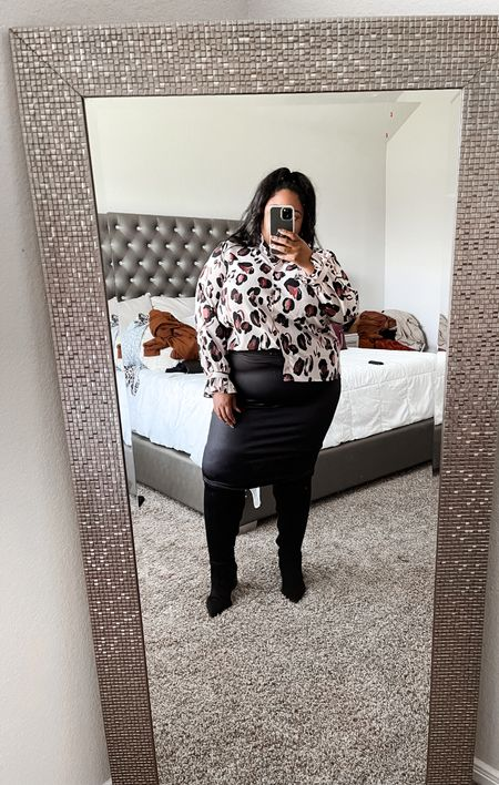 Plus size outfit idea, leopard print top, faux leather skirt, wide calf boots, plus size outfit, plus size clothing, fall boots  #LTKcurves #LTKunder50