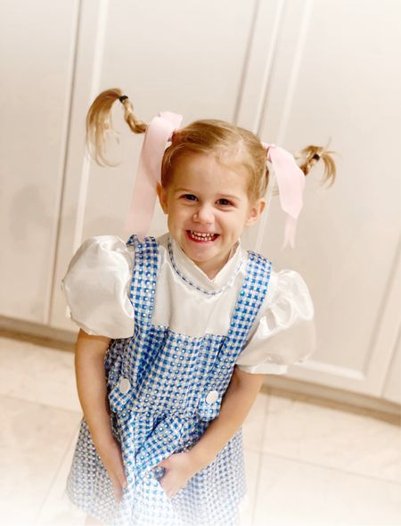 """Bizzy was a """"wacky Dorothy quote for school today. We used gardening wire in her pigtails and braided around it so that we can make them stick out.  #LTKkids #LTKunder100 #LTKHoliday"""