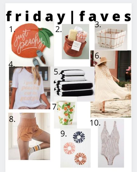 Friday faves! 1.) peach doormat. again, moving all the citrus things for summer 2.)unfavorite washcloths. They're soooo soft + pretty. Bonus, they come in a cute little canvas basket 3.) adorable fruit basket  4.) peaches shirt 🍑 5.) striped bath towels set. I picked up the orange stripe + black stripe and absolutely love them! (Just wash them separately though because the lint will get on everything else in the wash 🤦♀️) 6.) neutral kimono  7.) 🍊 cup ... and they're on sale! 8.) my favorite workout shorts. This color 🧡 9.) 3 pack of striped hair ties  10.) terry one piece! Love the color, cut + texture of this http://liketk.it/3ioTw #liketkit @liketoknow.it #LTKstyletip #LTKhome #LTKunder50