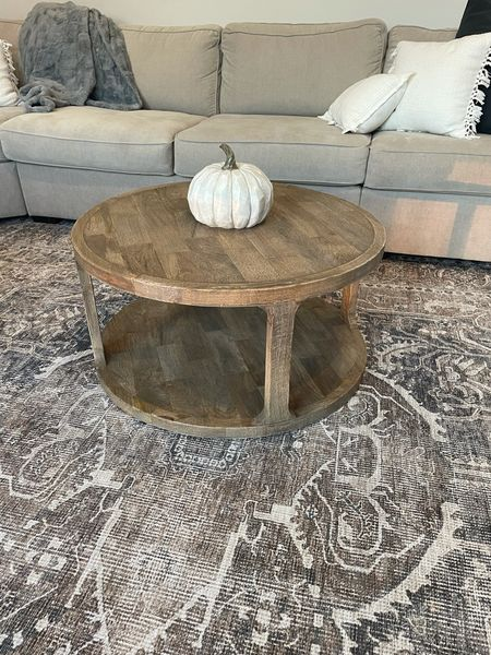 Wooden / natural coffee table - no filter! It has some yellowing in it but really not noticeable once it's inside.  Super heavy duty and good quality! RH dupe! Round coffee table, child safe, wooden coffee table  #LTKhome
