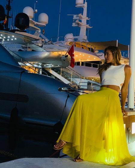 Marbella nights ✨ yellow maxi skirt with crop top http://liketk.it/2CcqF #liketkit @liketoknow.it
