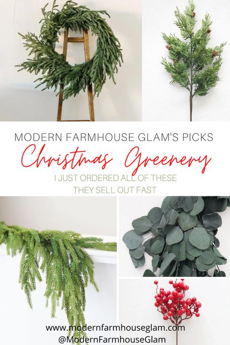 I just ordered all of these before they sell out! Simple elegance for Christmas. Realistic looking Christmas greenery, pine Garland, eucalyptus garland, cypress pine, Christmas wreath, Christmas decorations. I ordered everything that's on the list that's linked. Last year so many of these sold out early and I wasn't going to mess around this year LOL. I didn't have enough room for photos of it all on the cover photo, but they are all listed. I will show all of them as soon as I receive them in a few days. They will be in my Instagram stories @ModernFarmhouseGlam  #LTKhome #LTKHoliday #LTKSeasonal