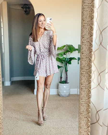 """Pink Lily romper & clear wedges perfect for all occasions. Wearing an xs. I'm 5'1"""" and it's a perfect fit!  Wedges run tts. Save 15% code JUNE15  •summer style • summer outfit • summer fashion • amazon fashion • easy outfit • comfy style • casual • everyday outfit• outfit ideas • mom style • petite  • affordable outfit    #LTKsalealert #LTKunder50 #LTKstyletip"""