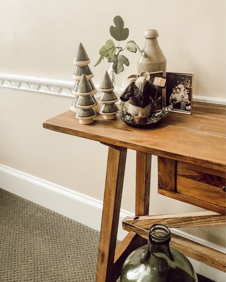Hallway vignette with ceramic trees and homespun details. #StayHomeWithLTK #LTKhome #LTKunder50 http://liketk.it/33eS0 #liketkit @liketoknow.it Shop your screenshot of this pic with the LIKEtoKNOW.it shopping app  Farmhouse style | farmhouse Christmas | Target style | neutral farmhouse