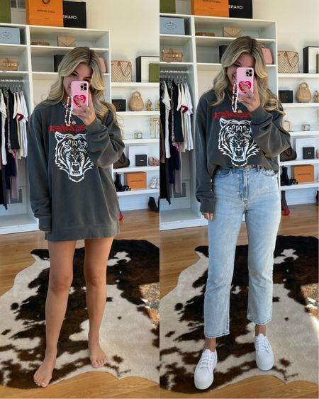 Casual outfit ideas fall outfit ideas graphic T distressed denim white sneakers sweatshirt    #LTKSeasonal #LTKunder50 #LTKstyletip