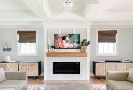 living room decor, living room inspo, living room storage, console table, cabinet, cane cabinet, cane  #LTKhome #LTKfamily #LTKSeasonal