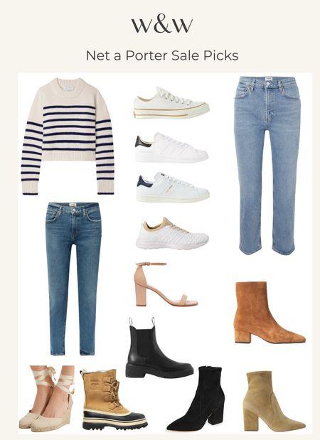 Net a Porter sale picks!  Striped sweater Cashmere sweater French style Agolde denim Cute jeans Fall boots Wedding shoes Apl sneakers Stan smith adidas sneakers Snow boots Fall booties Suede booties  Espadrille wedges   #LTKsalealert #LTKSeasonal