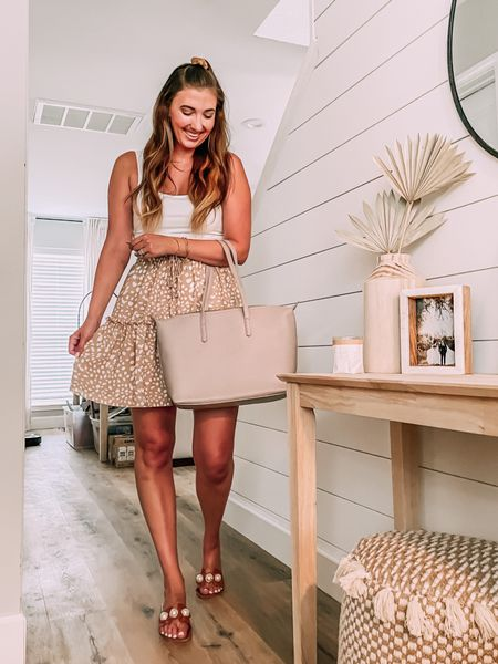 Summer outfit. Spotted skirt - sized up one. White bodysuit - tts. Pearl sandals - tts. Matt & Nat bag. Home decor.   #LTKstyletip #LTKunder50 #LTKhome