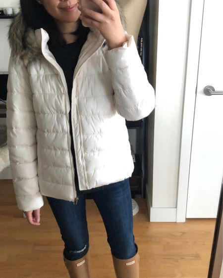 Love this white puffer. My usual size XSP is perfect for layering with sweaters. The boots also run true to size and the color shown is called tawny. @liketoknow.it http://liketk.it/2yR2D #liketkit #LTKholidaystyle #LTKholidaywishlist #LTKsalealert #LTKshoecrush #LTKstyletip #LTKunder50 #LTKunder100