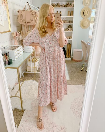 Floral midi dress on sale! Super comfortable to wear around the house with my favorite Tory Burch miler sandals http://liketk.it/2N24t #liketkit @liketoknow.it #LTKsalealert #StayHomeWithLTK #LTKspring
