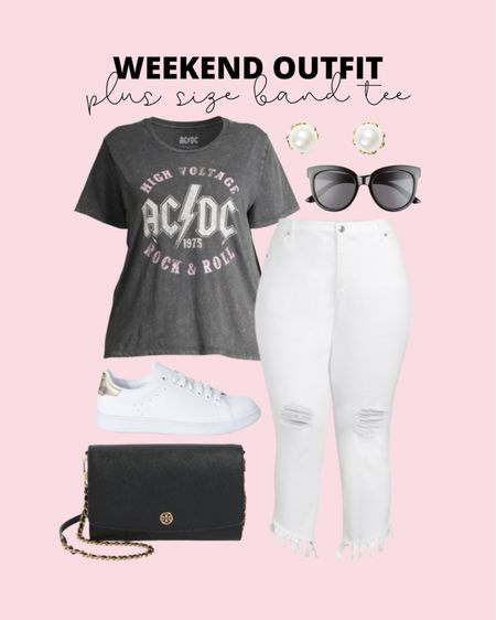 The cutest new plus size white jeans and plus size band tee are perfect for a casual weekend summer outfit!   #LTKcurves #LTKunder50 #LTKstyletip