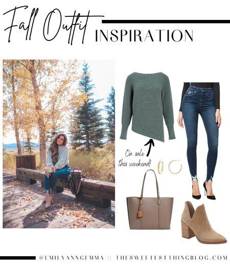 Emily Ann Gemma, Fall Outfits, Fall Booties, Fall Outfit Inspo, Green sweater, skinny jeans, fall denim, gold hoop earrings, fall tote bag   #LTKsalealert #LTKSeasonal #LTKstyletip