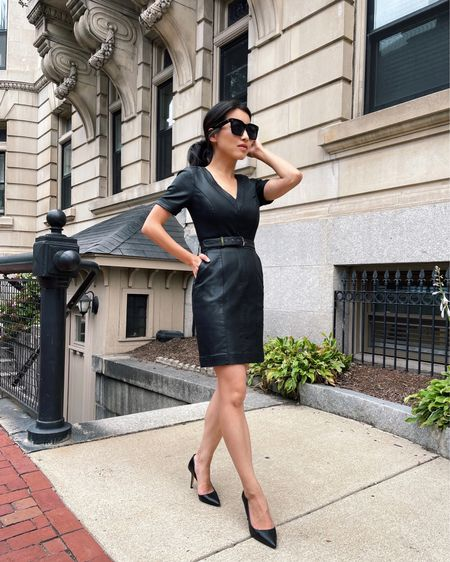 WHbM coated dress for girls night, date night, or work wear at creative offices! Wearing size 00 petite and fits like a glove.   #LTKworkwear #LTKstyletip #LTKSeasonal