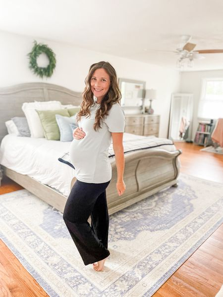 Cozy maternity loungewear - fall maternity style - easy maternity style - bamboo ribbed maternity t-shirt in icy blue and maternity lounge pants - postpartum style   #LTKstyletip #LTKbump