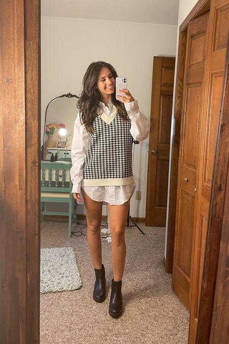 houndstooth sweater vest oversized white shirt dress black chunky Chelsea boots Serena van der woodson gossip girl inspired fall fashion  #LTKSeasonal #LTKfit #LTKstyletip